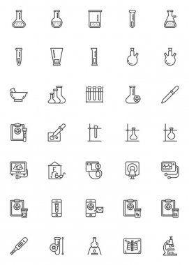 Laboratory diagnosis line icons set. Lab test linear style symbols collection, outline signs pack. vector graphics. Set includes icons as medical test tube, sperm beaker, x ray, ecg, blood, ultrasound icon