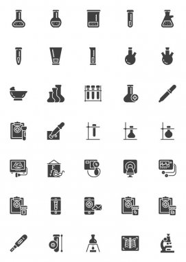 Laboratory test vector icons set, modern solid symbol collection, filled style pictogram pack. Signs, logo illustration. Set includes icons as medical test tube, sperm beaker, ecg, blood, ultrasound icon