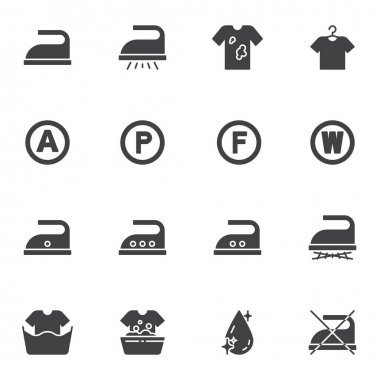 Laundry service vector icons set, modern solid symbol collection, filled style pictogram pack. Signs, logo illustration. Set includes icons as ironing, dirty shirt ,washing machine, water drop icon