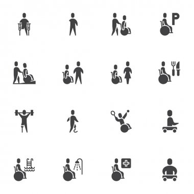 Disability vector icons set, modern solid symbol collection, filled style pictogram pack. Signs, logo illustration. Set includes icons as disabled people supporting , wheelchair, handicapped person icon