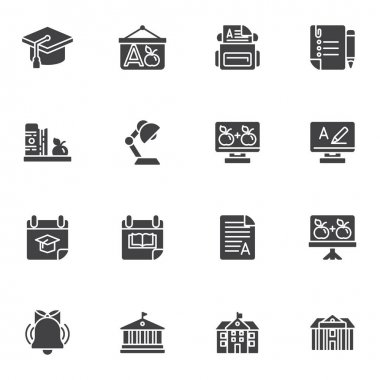Education vector icons set, modern solid symbol collection, filled style pictogram pack. Signs, logo illustration. Set includes icons as school bag, calendar, college, library, university building icon