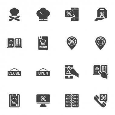 Online restaurant vector icons set, modern solid symbol collection, filled style pictogram pack. Signs logo illustration. Set includes icons as restaurant menu, cook hat, online food delivery, support icon