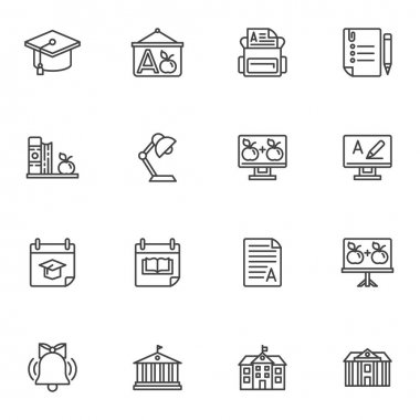 Education line icons set, outline vector symbol collection, linear style pictogram pack. Signs, logo illustration. Set includes icons as school bag, calendar, college, library, university building icon