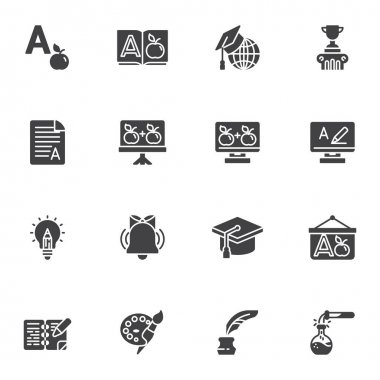 Education vector icons set, modern solid symbol collection, filled style pictogram pack. Signs, logo illustration. Set includes icons as dictionary book, graduation hat, school whiteboard, award cup icon
