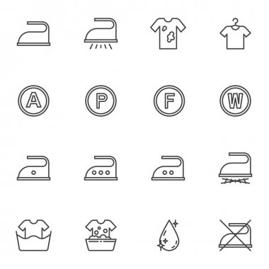 Laundry service line icons set, outline vector symbol collection, linear style pictogram pack. Signs, logo illustration. Set includes icons as ironing, dirty shirt ,washing machine, water drop icon
