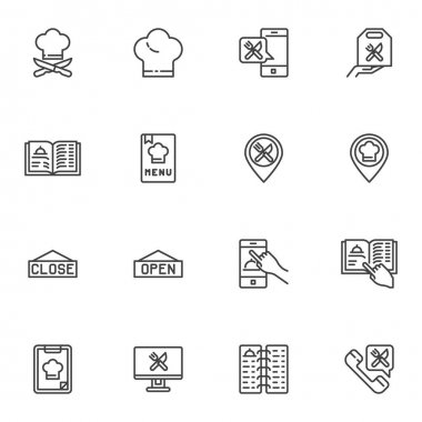 Online restaurant line icons set, outline vector symbol collection, linear style pictogram pack. Signs logo illustration. Set includes icons as restaurant menu, cook hat, online food delivery, support icon