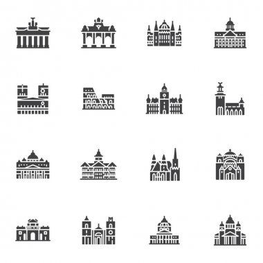 European cities landmarks vector icons set, modern solid symbol collection, filled style pictogram pack. Signs, logo illustration. Set includes icons as world famous buildings, castles and towers icon