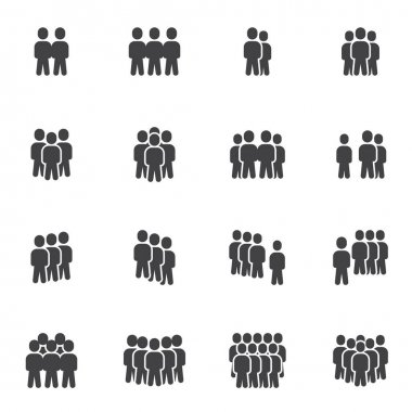Crowd of people vector icons set, modern solid symbol collection, filled style pictogram pack. Signs, logo illustration. Set includes icons as business teamwork people group community, office employee icon