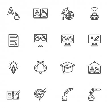 Education line icons set, outline vector symbol collection, linear style pictogram pack. Signs, logo illustration. Set includes icons as dictionary book, graduation hat, school whiteboard, award cup icon
