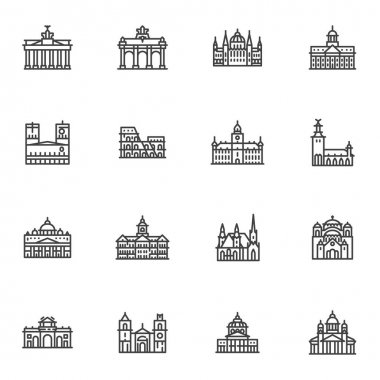 European cities landmarks line icons set, outline vector symbol collection, linear style pictogram pack. Signs, logo illustration. Set includes icons as world famous buildings, castles and towers icon