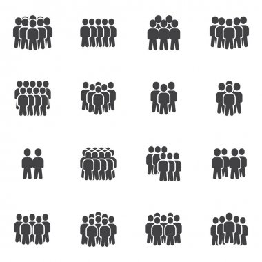 Group of people vector icons set, modern solid symbol collection, filled style pictogram pack. Signs, logo illustration. Set includes icons as business people crowd, teamwork group together, employee icon