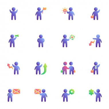 Business people collection, flat icons set, Colorful symbols pack contains - teamwork leader, partnership deal agreement, businessman with briefcase, innovation. Vector illustration. Flat style design icon