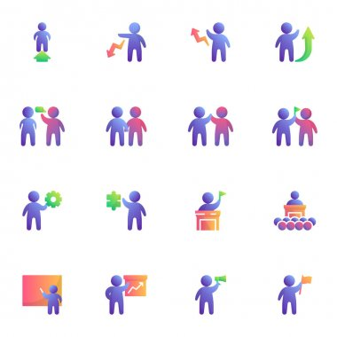 Business people collection, people teamwork flat icons set, Colorful symbols pack contains - partnership meeting, creative innovation, business presentation. Vector illustration. Flat style design icon