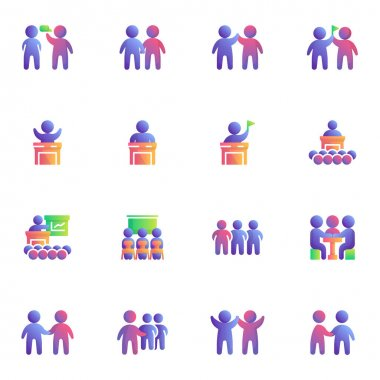 People teamwork collection flat icons set, Colorful symbols pack contains - teamwork group community, partnership meeting, business presentation, deal agreement. Vector illustration. Flat style design icon