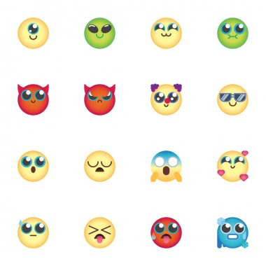 Colorful emoji collection, chat emoticon flat icons set, Colorful symbols pack contains - cartoon smiley face, angry, sad, cry, sleep. Vector illustration. Flat style design icon