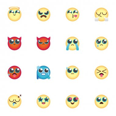 Cartoon emoji collection, chat emoticon flat icons set, Colorful symbols pack contains - smiley face, angry, sad, loudly cry, sleep, evil head with horns. Vector illustration. Flat style design icon