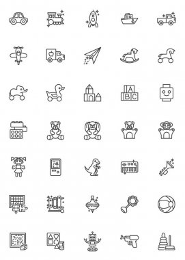 Baby toys line icons set. linear style symbols collection, outline signs pack. vector graphics. Set includes icons as teddy bear toy, robot, alphabet cubes, pyramid, doll, rocking horse, truck car icon