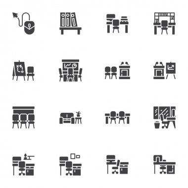 Office workplace vector icons set, modern solid symbol collection, filled style pictogram pack. Signs, logo illustration. Set includes icons as desktop computer, office table with chair, meeting room icon