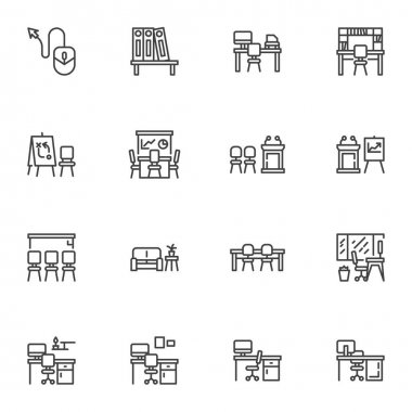 Office workplace line icons set, outline vector symbol collection, linear style pictogram pack. Signs, logo illustration. Set includes icons as desktop computer, office table with chair, meeting room icon