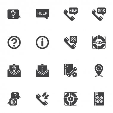 Technical support vector icons set, modern solid symbol collection, filled style pictogram pack. Signs, logo illustration. Set includes icons as faq, help support, telephone call, answer and question icon
