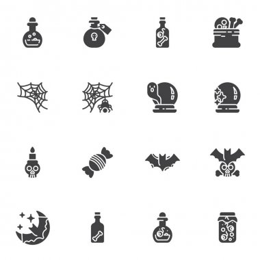 Halloween vector icons set, modern solid symbol collection, filled style pictogram pack. Signs, logo illustration. Set includes icons as night moon and bat, ghost, spider web, candy, poison bottle icon