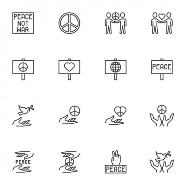 International peace day line icons set, outline vector symbol collection, linear style pictogram pack. Signs, logo illustration. Set includes icons as people friendship, hands with pigeon, heart icon