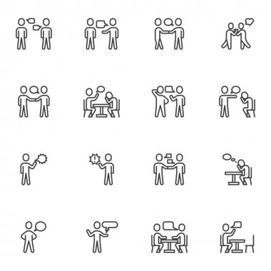 Business communication line icons set, outline vector symbol collection, linear style pictogram pack. Signs, logo illustration. Set includes icons as talking people, job interview, partnership, friend icon