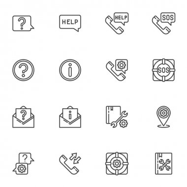 Technical support line icons set, outline vector symbol collection, linear style pictogram pack. Signs, logo illustration. Set includes icons as faq, help support, telephone call, answer and question icon