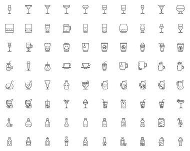 Bar drinks line icons set. linear style symbols collection, outline signs pack. Pub beverages vector graphics. Set includes icons as beer mug, bartender shaker, water bottle, wine glass, vodka shot icon