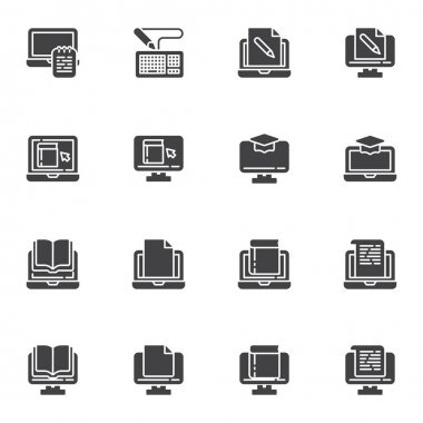 E-learning vector icons set, online education modern solid symbol collection, filled style pictogram pack. Signs, logo illustration. Set includes icons as online book reading, laptop computer document icon