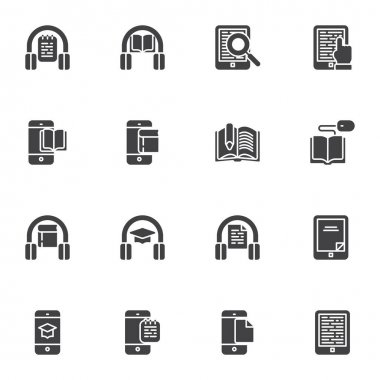 E-learning vector icons set, modern solid symbol collection, online education filled style pictogram pack. Signs, logo illustration. Set includes icons as audio book listening, online reading, ebook icon