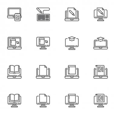 E-learning line icons set, online education outline vector symbol collection, linear style pictogram pack. Signs, logo illustration. Set includes icons as online book reading, laptop computer document icon
