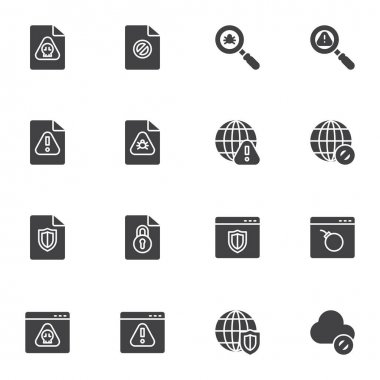 Data protection vector icons set, modern solid symbol collection, filled style pictogram pack. Signs logo illustration. Set includes icons as infected file, website virus, bug scan, browser protection icon