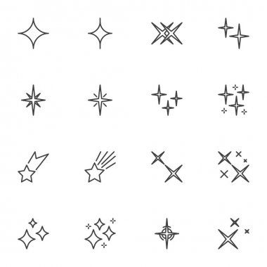 Star shapes line icons set, outline vector symbol collection, linear style pictogram pack. Signs, logo illustration. Set includes icons as falling star, christmas decoration, firework, starburst icon