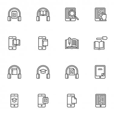 E-learning line icons set, outline vector symbol collection, online education linear style pictogram pack. Signs, logo illustration. Set includes icons as audio book listening, online reading, ebook icon