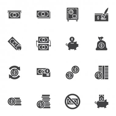 Money vector icons set, modern solid symbol collection, filled style pictogram pack. Signs logo illustration. Set includes icons as paper money bill, piggy bank with dollar coin, exchange, bank cheque icon