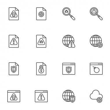 Data protection line icons set. linear style symbols collection, outline signs pack. Cyber security vector graphics. Set includes icons as infected file, website virus, bug scan, browser protection icon