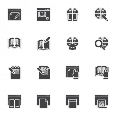 Online education vector icons set, E-learning modern solid symbol collection, filled style pictogram pack. Signs, logo illustration. Set includes icons as online book reading, global education icon