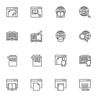Online education line icons set, E-learning outline vector symbol collection, linear style pictogram pack. Signs, logo illustration. Set includes icons as online book reading, global education icon