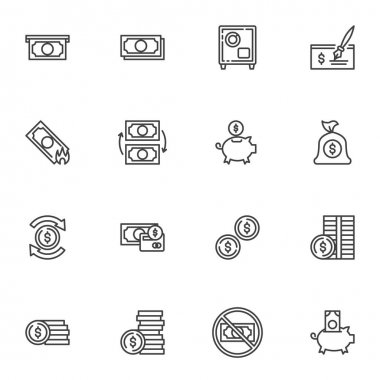 Money line icons set, outline vector symbol collection, linear style pictogram pack. Signs logo illustration. Set includes icons as paper money bill, piggy bank with dollar coin, exchange, bank cheque icon