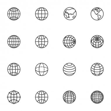 Globe grid line icons set, outline vector symbol collection, linear style pictogram pack. Signs, logo illustration. Set includes icons as global network connection, geography earth globe planet icon