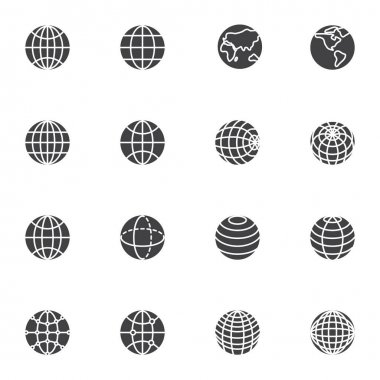 Globe grid vector icons set, modern solid symbol collection, filled style pictogram pack. Signs, logo illustration. Set includes icons as global network connection, geography earth globe planet icon