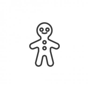Gingerbread Man line icon. linear style sign for mobile concept and web design. Xmas gingerbread cookie outline vector icon. Symbol, logo illustration. Vector graphics icon