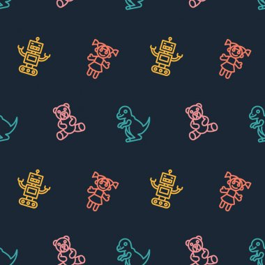 Childrens Toys icons pattern. Baby toys seamless background. Seamless pattern vector illustration icon