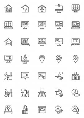 Working at home line icons set. linear style symbols collection, outline signs pack. vector graphics. Set includes icons as coworking space, home office, freelance people, online video conference icon
