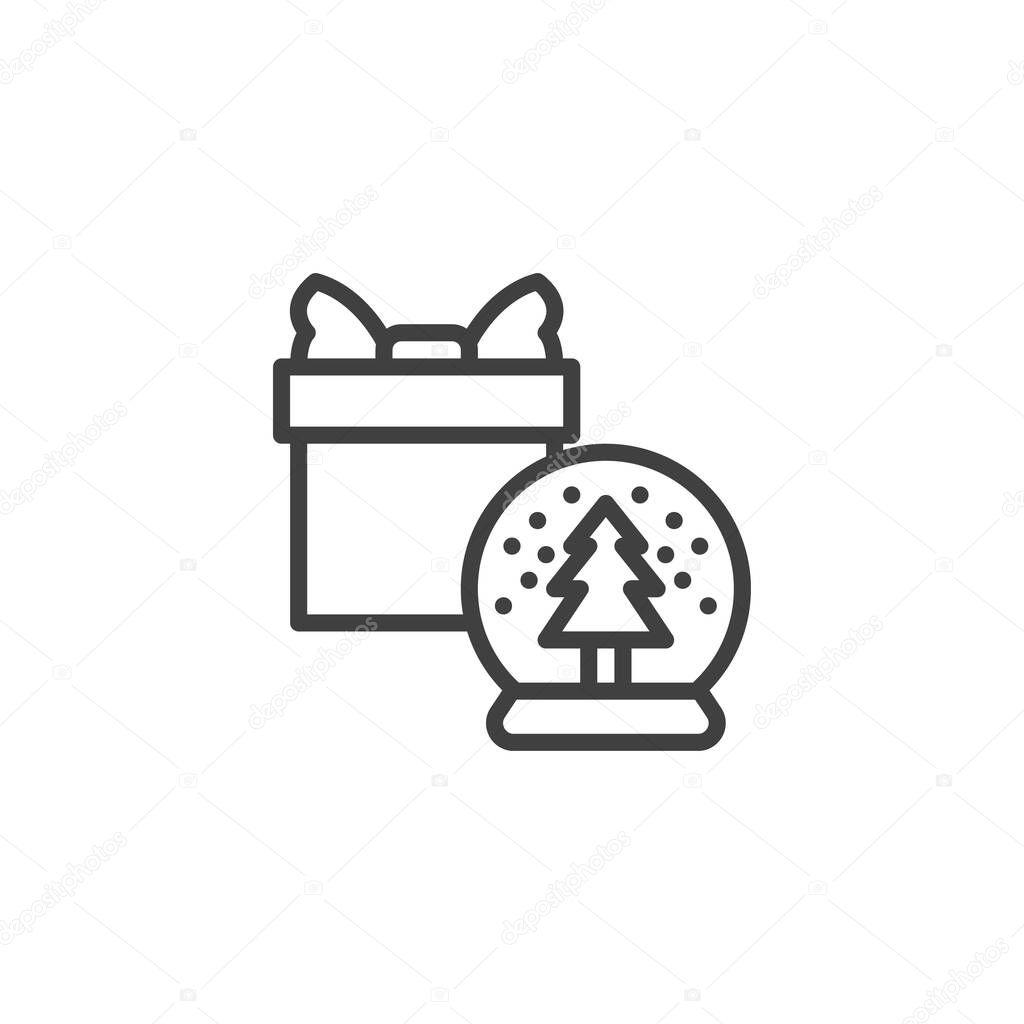 Snow globe and gift box line icon icon
