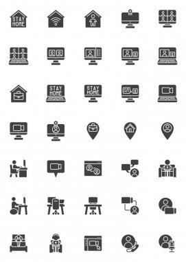 Working at home vector icons set, modern solid symbol collection, filled style pictogram pack. Signs, logo illustration. Set includes icons as home office, freelance people, online video conference icon