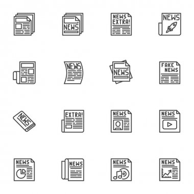 Newspaper news line icons set, outline vector symbol collection, linear style pictogram pack. Signs, logo illustration. Set includes icons as daily information article, media document headline icon