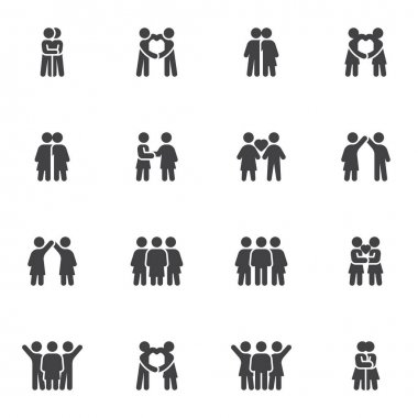 Love and friendship vector icons set, modern solid symbol collection, filled style pictogram pack. Signs, logo illustration. Set includes icons as people relationship, man and woman couple, lovers icon