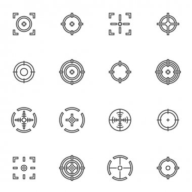Target and Crosshair line icons set, outline vector symbol collection, linear style pictogram pack. Signs, logo illustration. Set includes icons as sniper target, crosshair aim icon